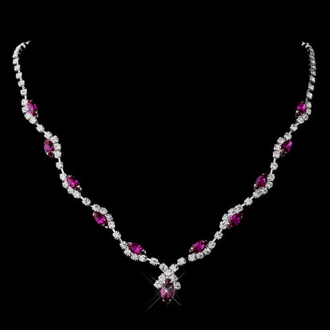 Silver Fuchsia Marquise & Clear Round Bridal Wedding Necklace 9341