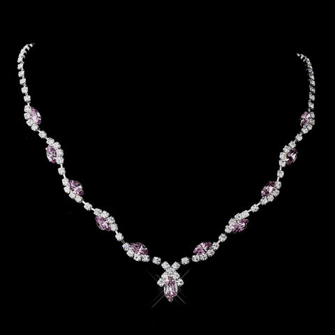 Silver Light Amethyst Marquise & Clear Round Bridal Wedding Necklace 9341