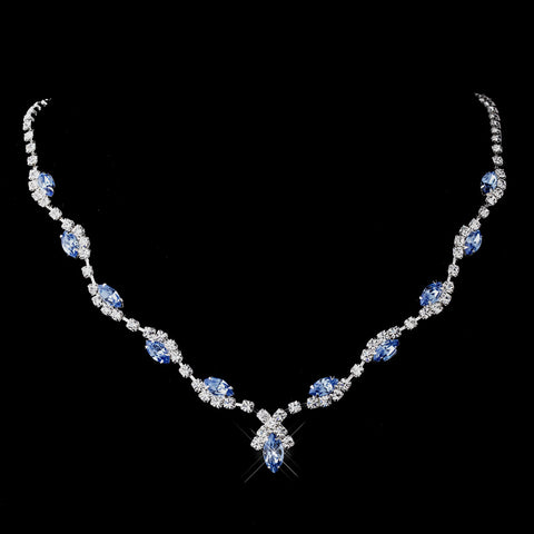 Silver Light Blue Marquise & Clear Round Bridal Wedding Necklace 9341