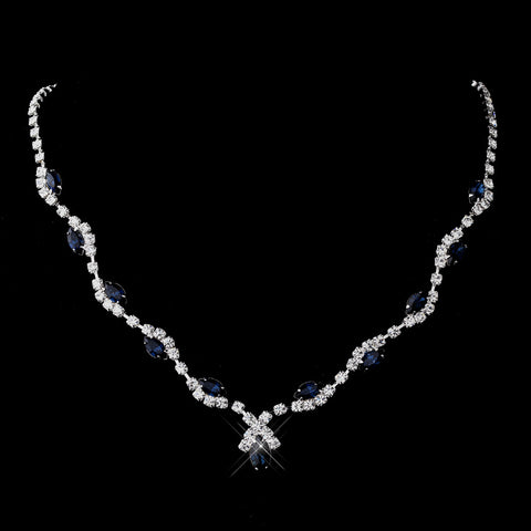 Silver Navy Marquise & Clear Round Bridal Wedding Necklace 9341
