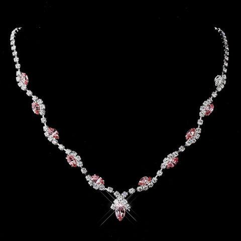 Silver Pink Marquise & Clear Round Bridal Wedding Necklace 9341