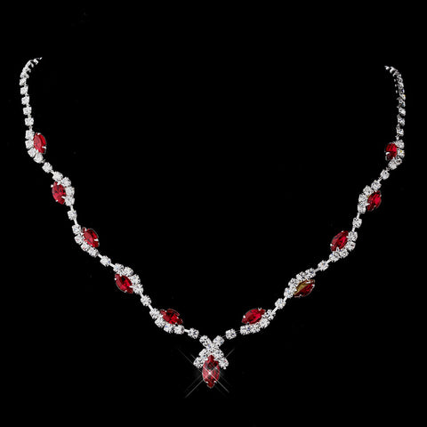 Silver Red Marquise & Clear Round Bridal Wedding Necklace 9341