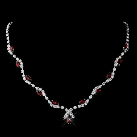 Silver Ruby Marquise & Clear Round Bridal Wedding Necklace 9341
