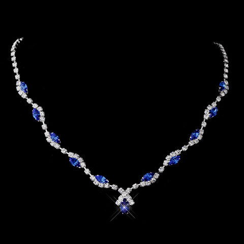 Silver Sapphire Marquise & Clear Round Bridal Wedding Necklace 9341