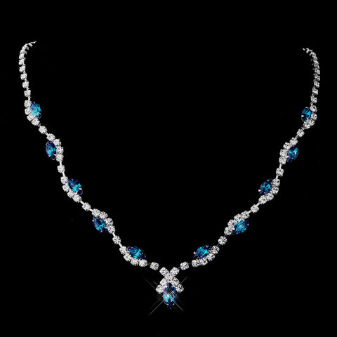 Silver Teal Marquise & Clear Round Bridal Wedding Necklace 9341