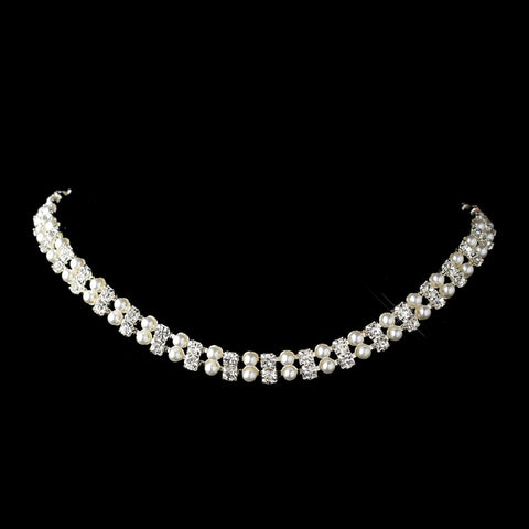 Silver White Pearl & Clear Rhinestone Bridal Wedding Necklace 9342