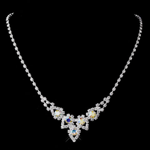 Silver AB Round Rhinestone Bridal Wedding Necklace 9381