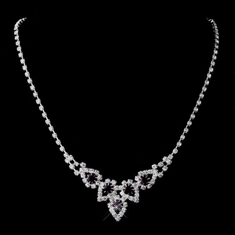 Silver Amethyst Round Rhinestone Bridal Wedding Necklace 9381