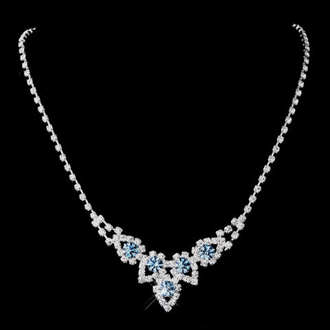 Silver Aqua Round Rhinestone Bridal Wedding Necklace 9381