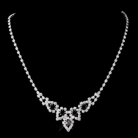 Silver Black Round Rhinestone Bridal Wedding Necklace 9381