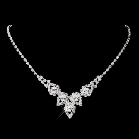 Silver Clear Round Rhinestone Bridal Wedding Necklace 9381