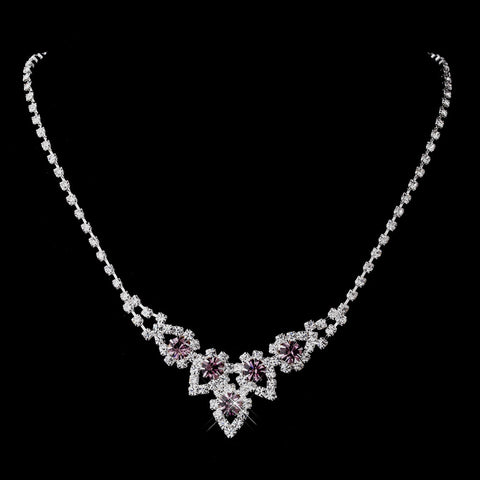 Silver Light Amethyst & Clear Round Rhinestone Bridal Wedding Necklace 9381