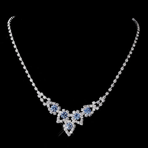 Silver Light Blue & Clear Round Rhinestone Bridal Wedding Necklace 9381