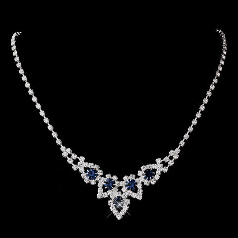 Silver Navy Round Rhinestone Bridal Wedding Necklace 9381