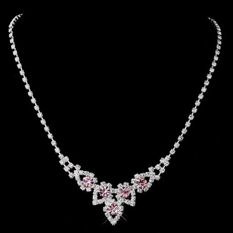 Silver Pink Round Rhinestone Bridal Wedding Necklace 9381