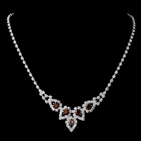 Silver Ruby Round Rhinestone Bridal Wedding Necklace 9381