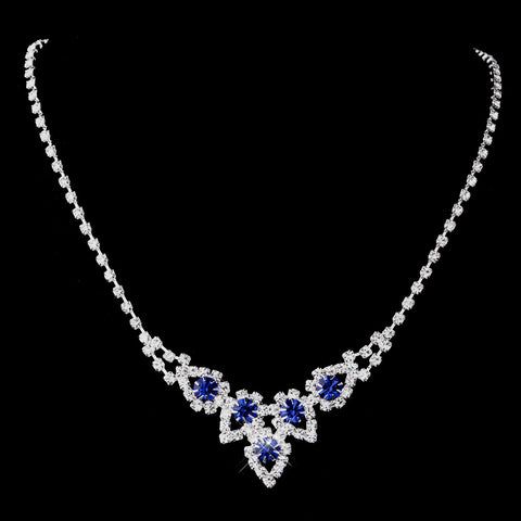 Silver Sapphire Round Rhinestone Bridal Wedding Necklace 9381