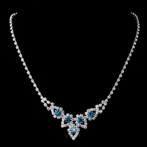 Silver Teal Round Rhinestone Bridal Wedding Necklace 9381