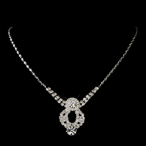 Silver Clear Round Rhinestone Bridal Wedding Necklace 9800