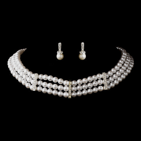 3 Row Silver White Pearl & Clear Rhinestone Rondelle Bridal Wedding Necklace 9851 & Bridal Wedding Earrings 3592