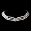 3 Row Silver White Pearl & Clear Rhinestone Rondelle Bridal Wedding Necklace 9851
