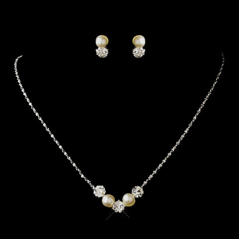 Silver Ivory Pearl & Clear Round Rhinestone Bridal Wedding Jewelry Set 0428