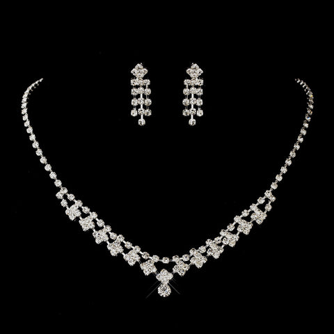 Antique Silver Rhodium Clear Round Rhinestone Bridal Wedding Jewelry Set 1008