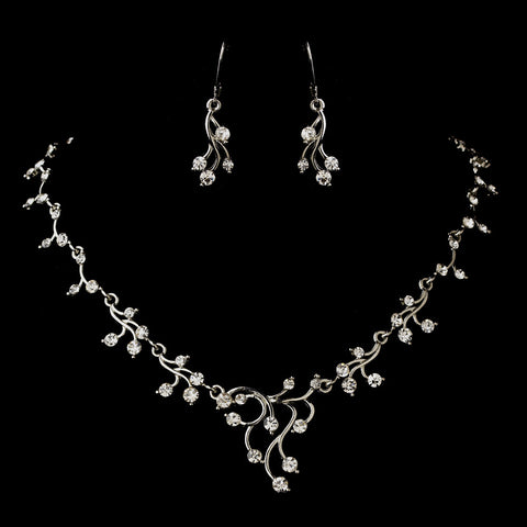 Silver Clear Round Rhinestone Filigree Bridal Wedding Jewelry Set 2178