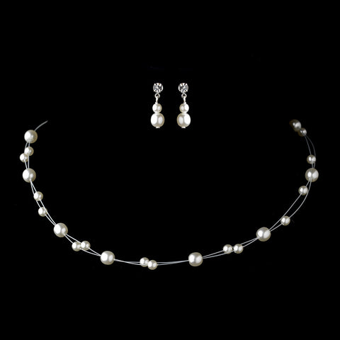 Silver White Glass Pearl Wire Bridal Wedding Jewelry Set 4300