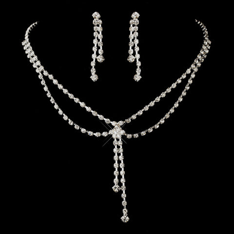 Silver Clear Rhinestone Dangle Bridal Wedding Jewelry Set 5310