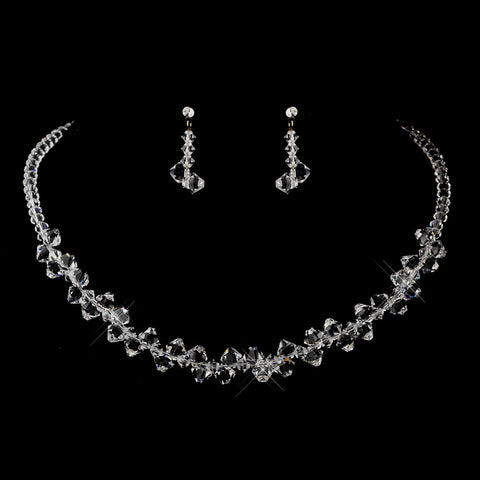 Silver Clear Swarovski Crystal Bead Bridal Wedding Jewelry Set