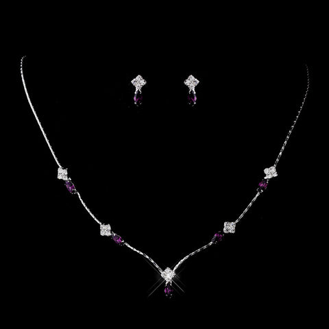 Silver Amethyst and Clear Navette Rhinestone Bridal Wedding Jewelry Set 7017