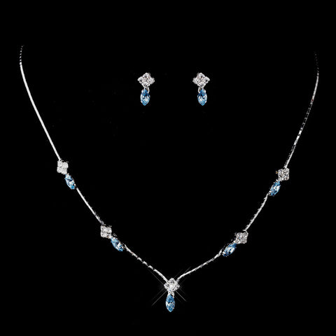 Silver Aqua and Clear Navette Rhinestone Bridal Wedding Jewelry Set 7017