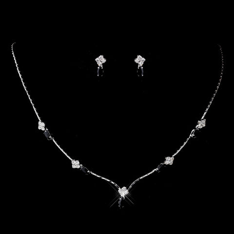 Silver Black and Clear Navette Rhinestone Bridal Wedding Jewelry Set 7017