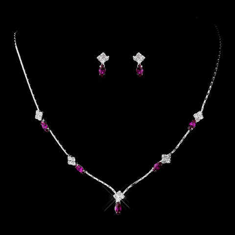 Silver Fuchsia and Clear Navette Rhinestone Bridal Wedding Jewelry Set 7017