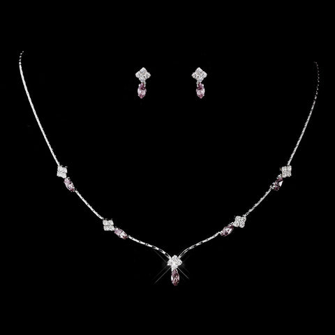 Silver Light Amethyst and Clear Navette Rhinestone Bridal Wedding Jewelry Set 7017