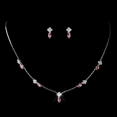 Silver Pink and Clear Navette Rhinestone Bridal Wedding Jewelry Set 7017