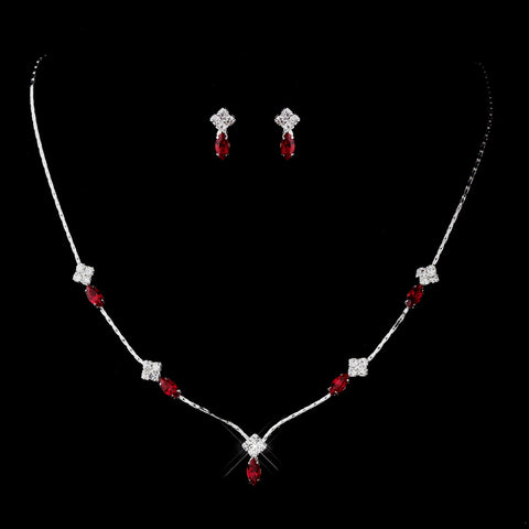Silver Red and Clear Navette Rhinestone Bridal Wedding Jewelry Set 7017