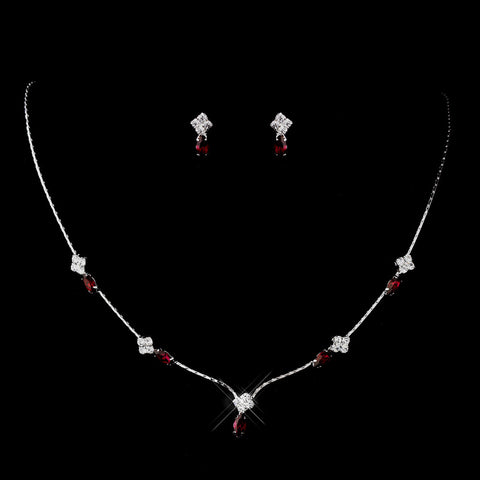 Silver Ruby and Clear Navette Rhinestone Bridal Wedding Jewelry Set 7017