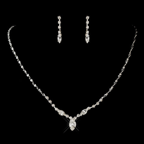 Silver Clear Navette & Round Rhinestone Bridal Wedding Jewelry Set 7057