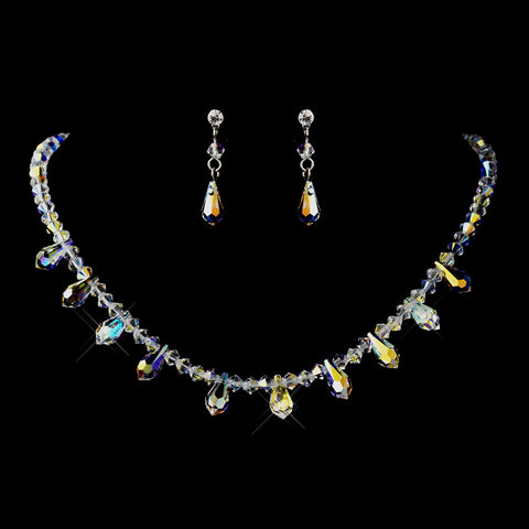 Silver AB Swarovski Crystal Bead Bridal Wedding Jewelry Set 7070