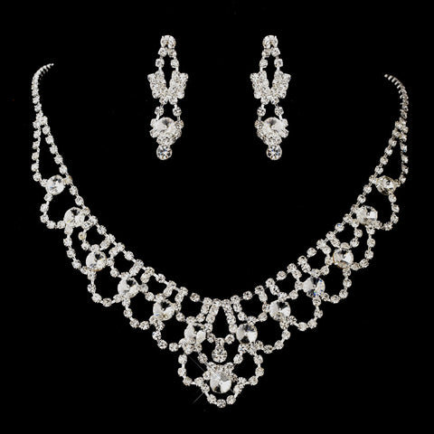 Silver Clear Round Rhinestone Statement Bridal Wedding Jewelry Set 7087