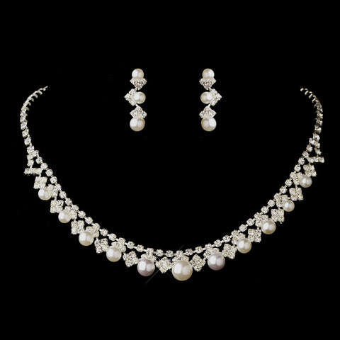 Silver White Pearl & Clear Rhinestone Bridal Wedding Jewelry Set 7104