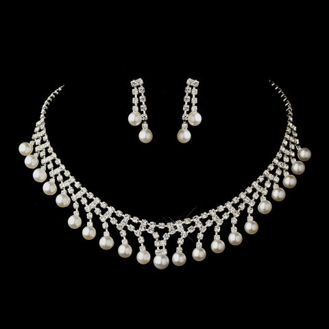 Silver White Glass Pearl & Clear Rhinestone Dangle Bridal Wedding Jewelry Set 7124