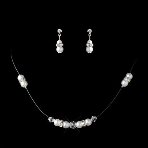 Silver White Pearl & Clear Rhinestone Rondelle Illusion Bridal Wedding Jewelry Set 7407