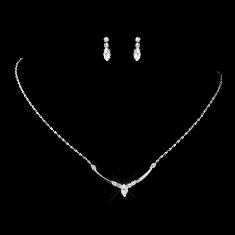 Silver Clear Navette & Round Rhinestone Bridal Wedding Jewelry Set 7450