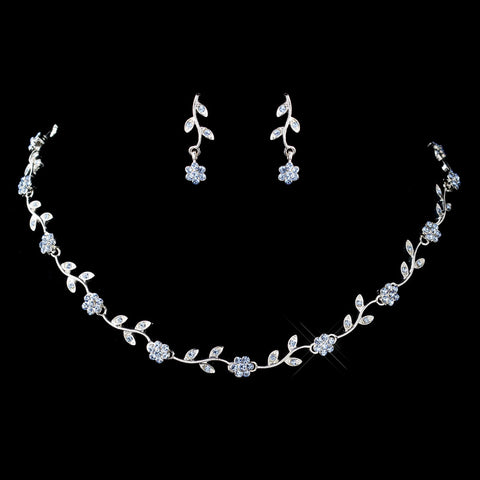 Silver Light Blue Rhinestone Floral Pattern Bridal Wedding Jewelry Set 7545