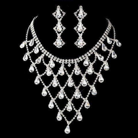 Silver Clear Rhinestone Drape Statement Bridal Wedding Jewelry Set 7919