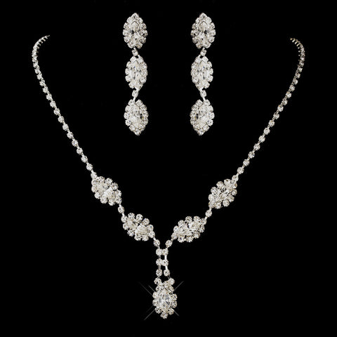 Silver Clear Marquise Rhinestone Bridal Wedding Jewelry Set 8400