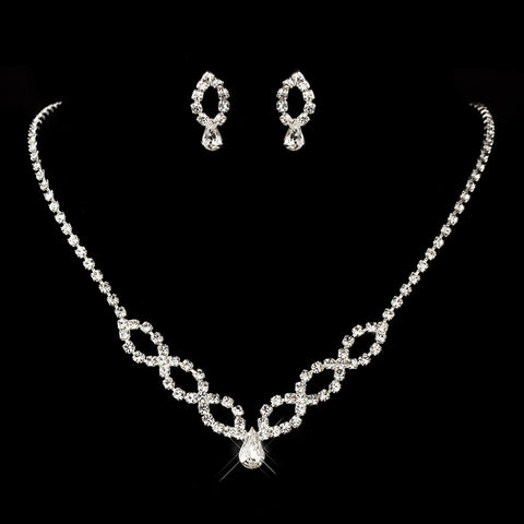 Silver Clear Teardrop & Round Rhinestone Bridal Wedding Jewelry Set 8800